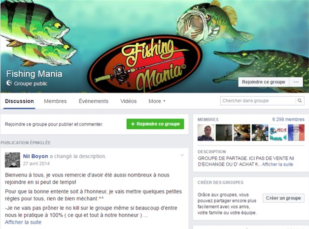 Page Facebook Fishing Mania