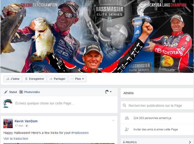 Facebook page Kevin Van Dam Bassmaster elite